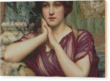 A Classical Beauty Wood Print by John William Godward