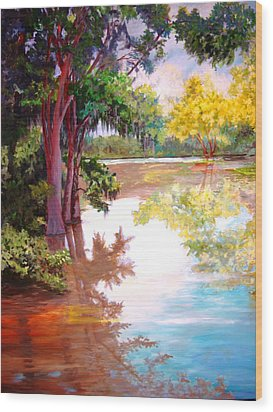 Wood Print featuring the painting A Fine Day by AnnE Dentler