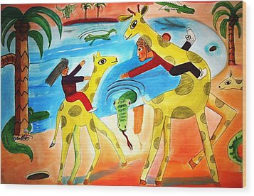 A Fine Day For Riding Giraffes Wood Print by Ward Smith