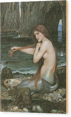 A Mermaid Wood Print by John William Waterhouse