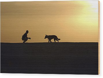 A Military Working Dog And His Handler Wood Print by Stocktrek Images