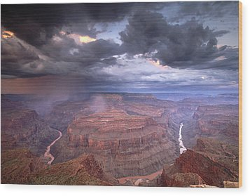A Monsoon Storm In The Grand Canyon Wood Print by David Edwards