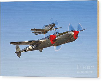 A P-38 Lightning And P-51d Mustang Wood Print by Scott Germain