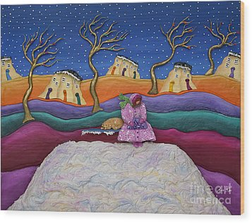 Wood Print featuring the sculpture A Snowy Night by Anne Klar
