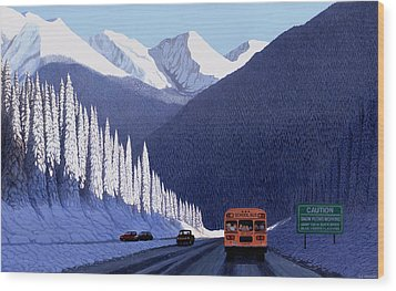 A Winter Drive In British Columbia Wood Print by Neil Woodward