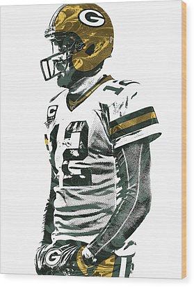 Aaron Rodgers Green Bay Packers Pixel Art 5 Wood Print by Joe Hamilton