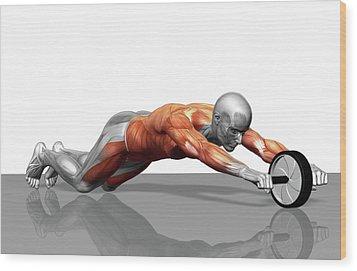 Ab Wheel Exercise Wood Print by MedicalRF.com