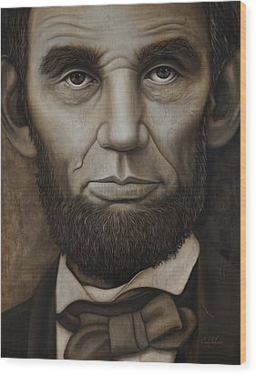 Abraham Lincoln On Wood Wood Print