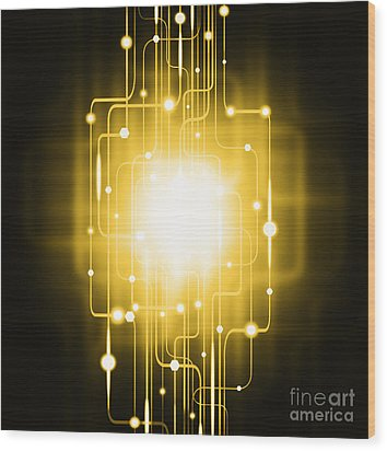 Abstract Circuit Board Lighting Effect  Wood Print by Setsiri Silapasuwanchai