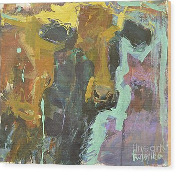 Wood Print featuring the painting Abstract Cow Painting by Robert Joyner