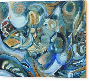 Abstract In Blue Wood Print by Kathy Dueker