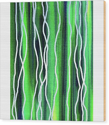Abstract Lines On Green Wood Print by Irina Sztukowski