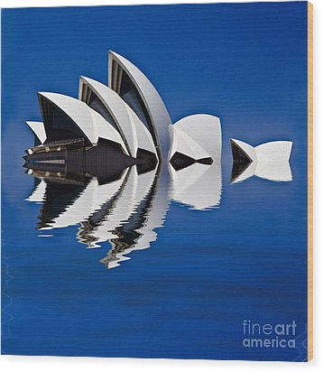 Abstract Of Sydney Opera House Wood Print by Avalon Fine Art Photography