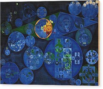 Wood Print featuring the digital art Abstract Painting - Dark Midnight Blue by Vitaliy Gladkiy