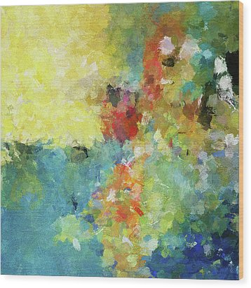 Wood Print featuring the painting Abstract Seascape Painting by Ayse Deniz