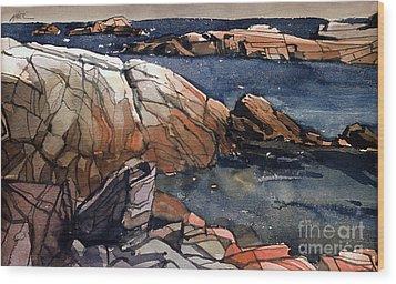 Acadia Rocks Wood Print by Donald Maier