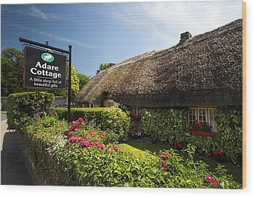 Adare Thatch Roof Cottages Ireland Wood Print by Pierre Leclerc Photography