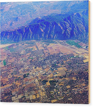 Aerial Usa. Los Angeles, California Wood Print by Alex Potemkin