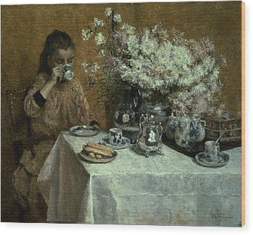 Afternoon Tea Wood Print by Isidor Verheyden