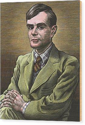 Alan Turing, British Mathematician Wood Print by Bill Sanderson