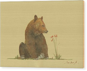 Alaskan Grizzly Bear Wood Print