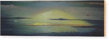 Alaskan Sunset Wood Print by Anna Villarreal Garbis