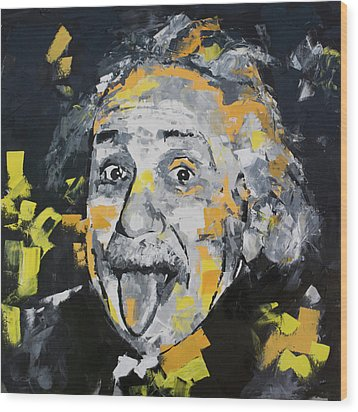 Wood Print featuring the painting Albert Einstein by Richard Day