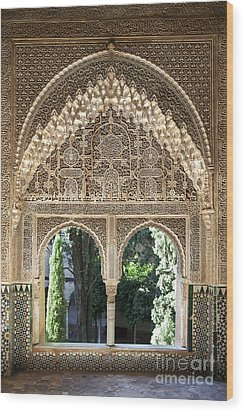 Alhambra Windows Wood Print by Jane Rix