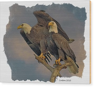 American Bald Eagle Pair Wood Print by Larry Linton