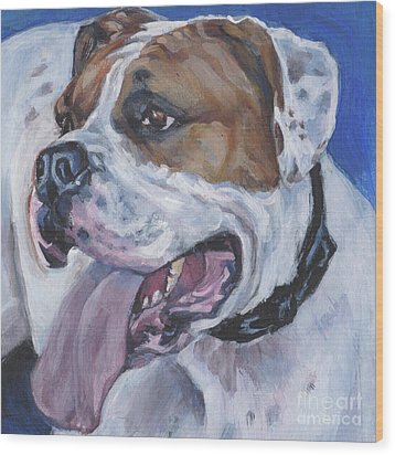 Wood Print featuring the painting American Bulldog by Lee Ann Shepard