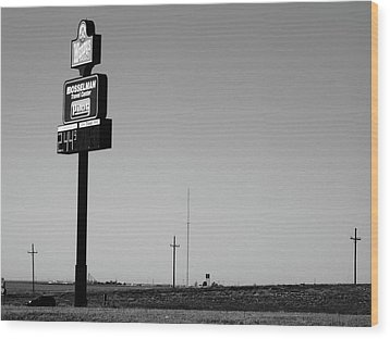 Wood Print featuring the photograph American Interstate - Kansas I-70 Bw 4 by Frank Romeo