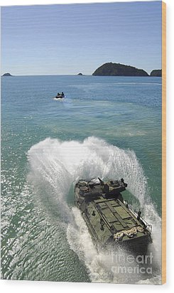 Amphibious Assault Vehicles Exit Wood Print by Stocktrek Images