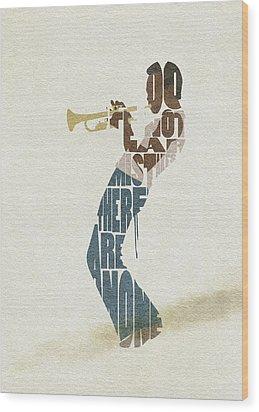 Wood Print featuring the digital art Miles Davis Typography Art by Inspirowl Design