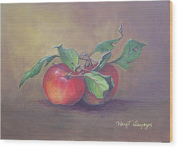 Wood Print featuring the painting An Apple A Day  by Margit Sampogna