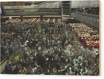 An Elevated View Of Traders Wood Print by Michael S. Lewis