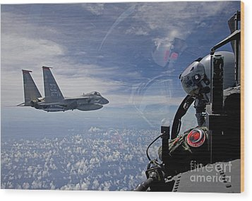 An F-15 Eagle Pilot Flies In Formation Wood Print by HIGH-G Productions