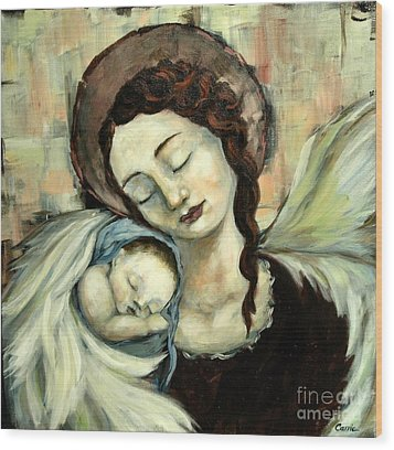 Angel And Baby Wood Print