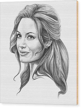 Angelina Jolie Wood Print by Murphy Elliott