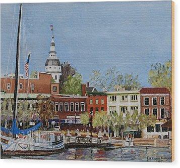 Annapolis Harbor Wood Print by Mary Susan Vaughn