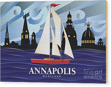 Annapolis Skyline Red Sail Boat Wood Print