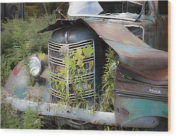 Wood Print featuring the photograph Antique Mack Truck by Charles Harden
