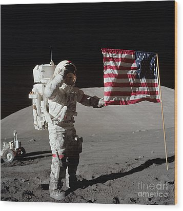 Apollo 17 Astronaut Salutes The United Wood Print by Stocktrek Images