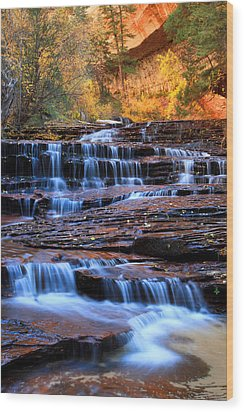 Archangel Falls In Zion Wood Print by Pierre Leclerc Photography