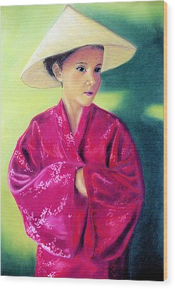 Wood Print featuring the pastel Asia As Asian by Jan Amiss