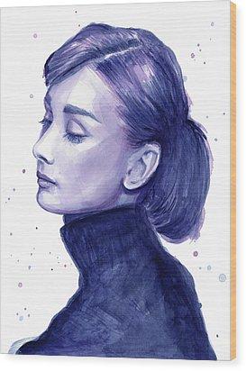 Audrey Hepburn Portrait Wood Print