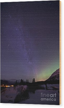 Aurora Borealis And Milky Way Wood Print by Jonathan Tucker