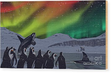 Wood Print featuring the digital art Aurora Borealis by Methune Hively