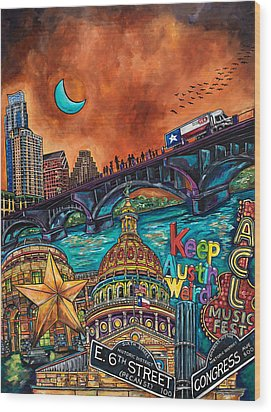Wood Print featuring the painting Austin Montage by Patti Schermerhorn