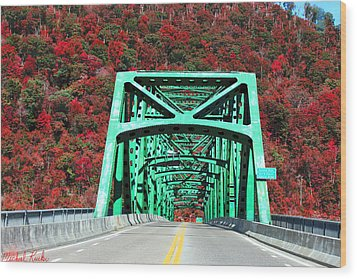 Autumn Bridge Wood Print by Michael Rucker