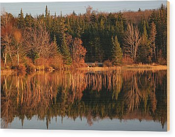 Autumn Lake Wood Print by Kate  Leikin